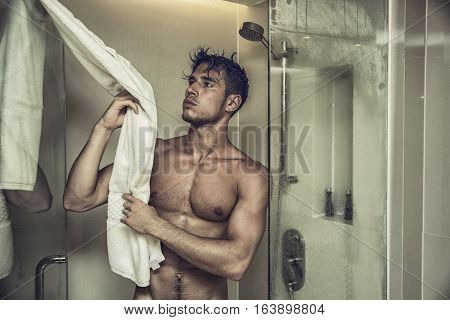 Close up Attractive Young Bare Muscular Man after Taking Shower, Grabbing Towel