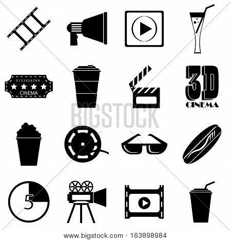 Movie items icons set. Simple illustration of 16 movie items vector icons for web