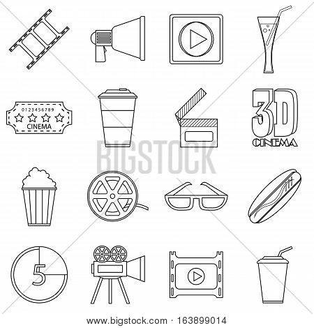 Movie items icons set. Outline illustration of 16 movie items vector icons for web