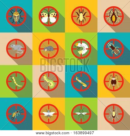 Pest control icons set. Flat illustration of 16 pest control vector icons for web