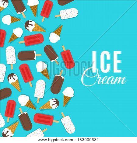 Ice cream vector sign illustration poster or banner symbol design