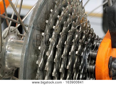 Steel Cogset Of A Racing Sports Bike