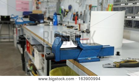 Blacksmith Vise In A Large Machine Shop