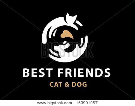 Cat and dog friends emblem, logo design