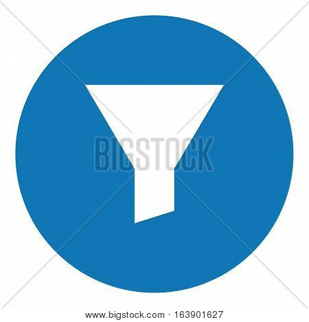 Funnel illustration - Flat design icon - filled circle blue and white