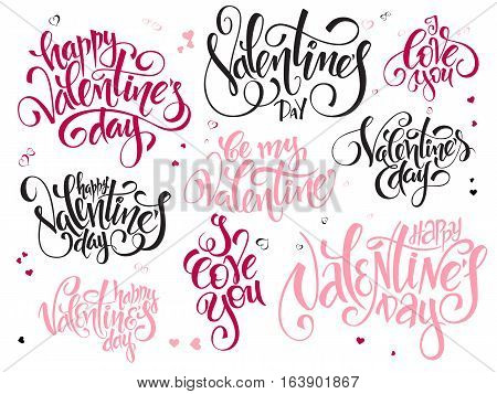 vector set of hand lettering valentines day greetings text - happy valentines day, i love you, written in various styles.