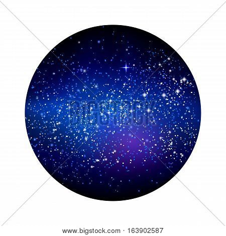Outer space starry design in the shape of circle isolated on white background