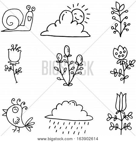 Illustration of spring item doodles collection stock