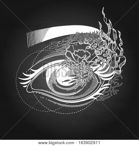 Abstract graphic eye decorated with seaweed and corals. Sacred geometry. Tattoo art or t-shirt design. Vector illustration isolated on the chalkboard