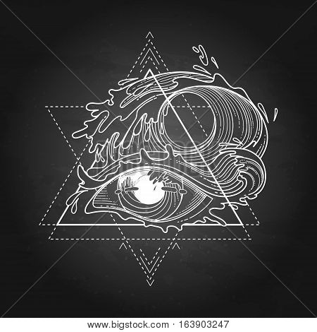 Abstract graphic eye decorated with storm waves. Sacred geometry. Tattoo art or t-shirt design. Vector illustration isolated on the chalkboard