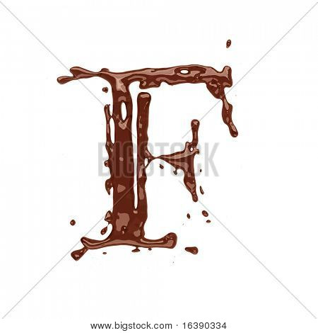 Chocolate letter F isolated on white background