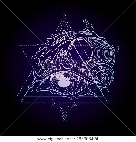 Abstract graphic eye decorated with storm waves. Sacred geometry. Tattoo art or t-shirt design. Vector illustration in pink and blue colors
