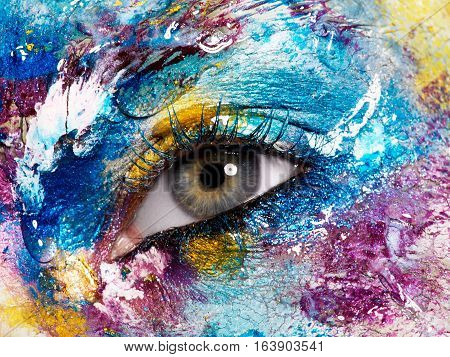 Beauty, Cosmetics And Makeup. Bright Creative Make-up