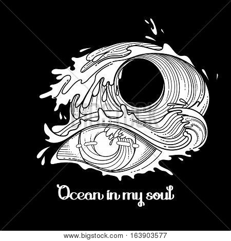 Abstract grphic eye decorated with storm waves. Sacred geometry. Blackwork tattoo or t-shirt design. Coloring book page for adults. Vector art isolated on black background.