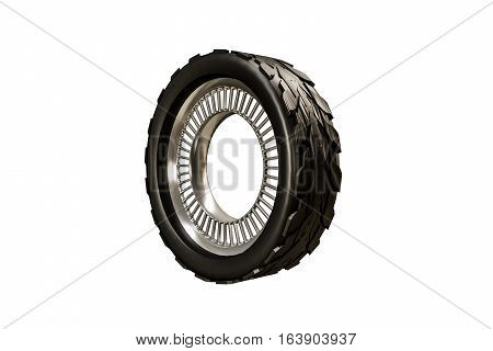 3d illustration of a futuristic tire isolated on white background