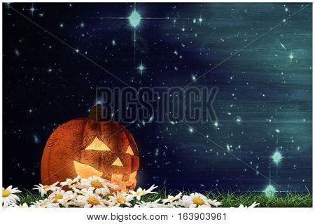 3d illustration of jack o lantern on a green field