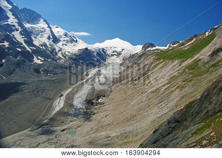 Grossglockner massif and glacier in Austrian Alps