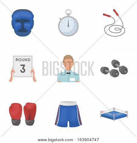 Boxing set icons in cartoon design. Big collection of boxing vector symbol stock illustration