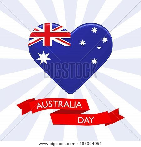 Australia Day background. Heart in colors of australian flag. Patriotic vector illustration with red ribbon for posters flyers decoration. Colorful template for National celebration on 26th January