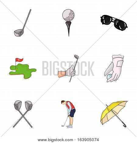 Golf club set icons in cartoon design. Big collection of golf club vector symbol stock illustration