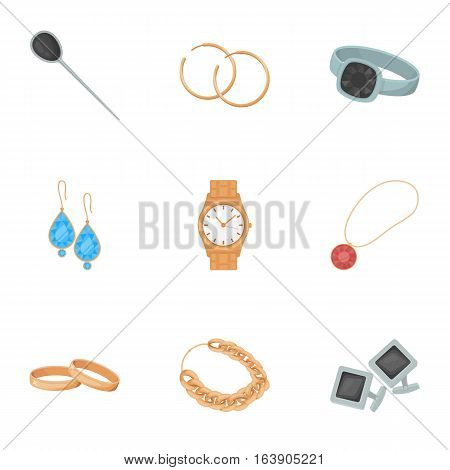 Jewelry and accessories set icons in cartoon design. Big collection of jewelry and accessories vector symbol stock illustration