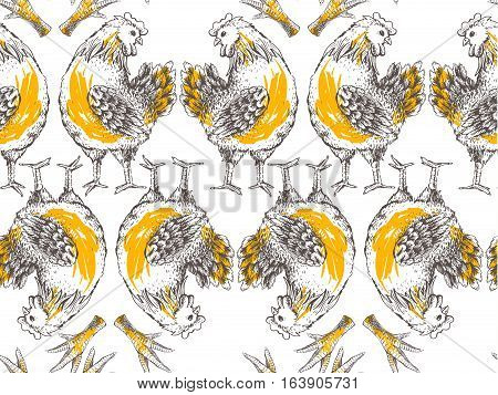 Seamless pattern with hen and leg. Symmetrical brood-hen on white background. Handmade illustration of vector for your design. It may be used for packing, box, cloth and other your designe concept art