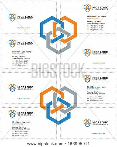 business card construction industry, three colored hexagons on a white background