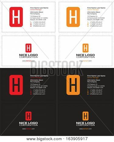 business card with the letter H, red and yellow colors