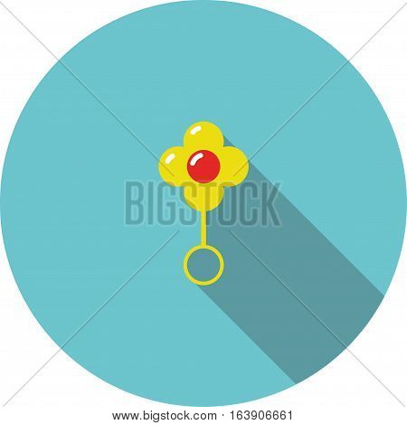 vector children icon yellow flower rattle on a blue background