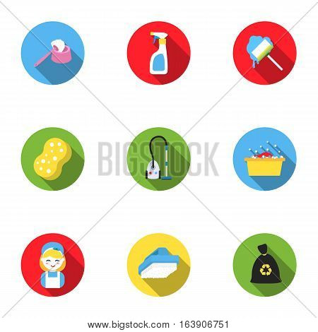 Cleaning set icons in flat style. Big collection of cleaning vector symbol stock