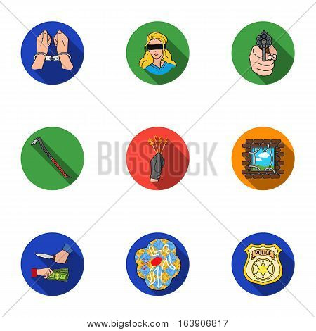 Crime set icons in flat style. Big collection of crime vector symbol stock