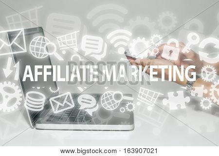 Affiliate marketing business concept in office with laptop