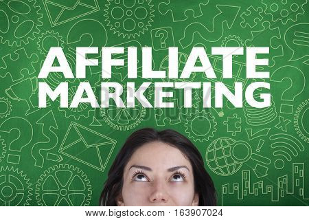 Affiliate marketing business concept with person and blackboard