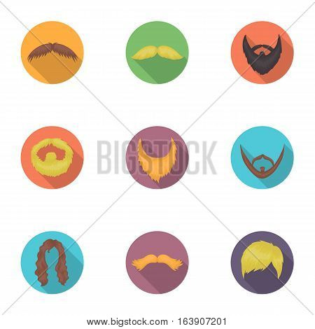 Beard set icons in flat style. Big collection of beard vector symbol stock