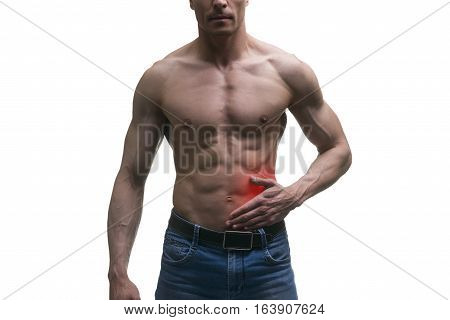 Attack of appendicitis pain in left side of muscular male body isolated on white background with red dot