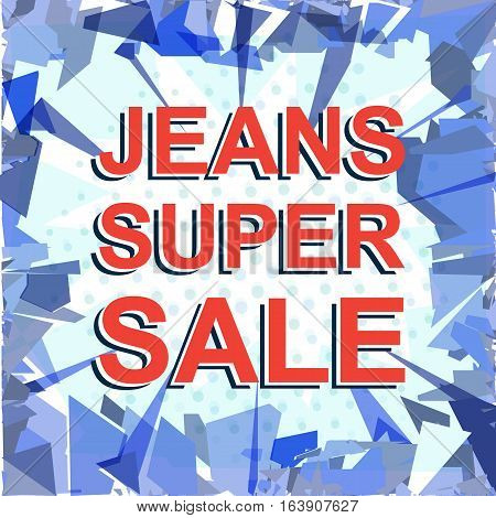 Red Striped Sale Poster With Jeans Super Sale Text. Advertising Banner
