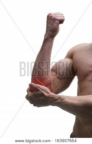 Pain in the elbow muscular male body isolated on white background with red dot