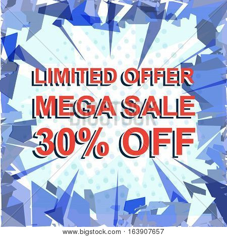 Red Striped Sale Poster With Limited Offer Mega Sale 30 Percent Off Text. Advertising Banner