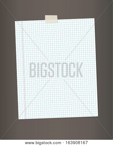 Blank squared paper from a notebook or notepad for notes vector background.