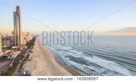 GOLD COAST, AUSTRALIA - DECEMBER 17 2016:Aerial view of Gold Coast Surfers Paradise and coastline at sunrise