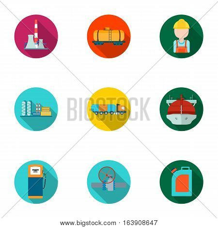 Oil industry set icons in flat design. Big collection of oil industry vector symbol stock illustration