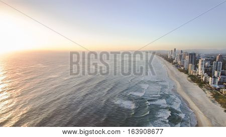 Aerial view of Gold Coast Surfers Paradise and coastline at sunrise
