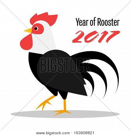 Happy Chinese New Year 2017. The year of rooster (cock). Black rooster (cock) with white neck vector illustration
