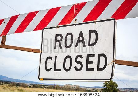 Road closed warning sign United States of America