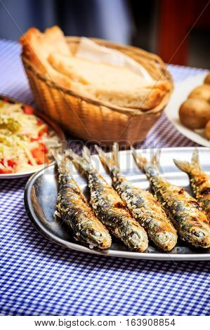 Grilled Sardines With Salad, Bread And Potato