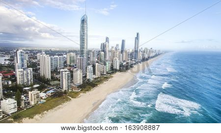 Aerial view of Surfers Paradise beach and coastline