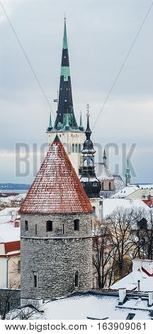 Winter view on historical roofs of old town of Tallinn Estonia