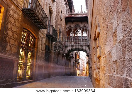 Barri Gotic Quarter Of Barcelona, Spain
