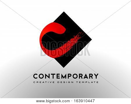 Letter C Logo with Brush Art Gallery Concept. C Letter Icon Design Vector.