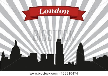 London city skyline with rays background and ribbon